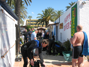 I work too much to have a life, Busy dive center Happy Divers Marbella