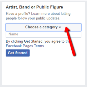 Choose a category for your Facebook Business Page