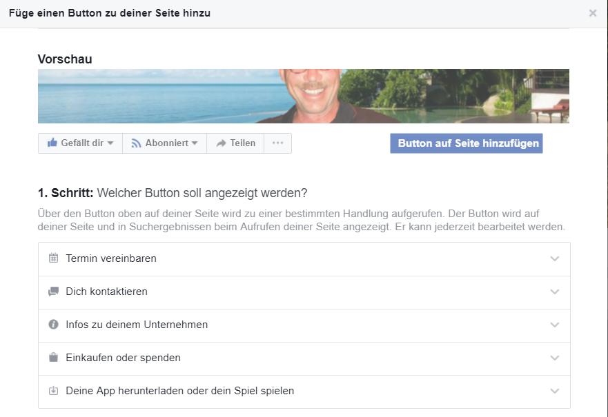 Füge einen Call to Action Button auf der Facebook Seite ein